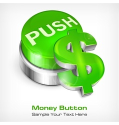 Green button with dollar vector image vector image