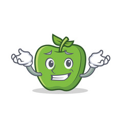 Grinning green apple character cartoon vector