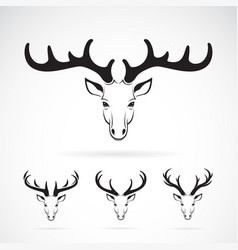 group of deer head design on white background vector image vector image