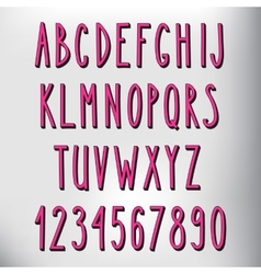 Hand drawn narrow pink alphabet vector image vector image