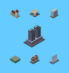 Isometric architecture set of tower chapel house vector