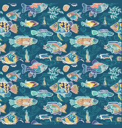 magic sea life pattern vector image
