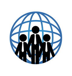 pictogram world map and executives vector image