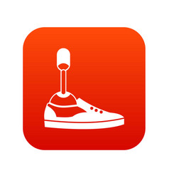 Prosthetic leg icon digital red vector