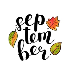 September Brush lettering vector image