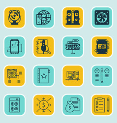 set of 16 project management icons includes vector image