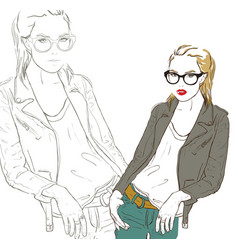Stylish girl in leather jackets vector