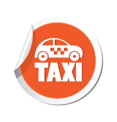 taxi icon orange sticker vector image vector image