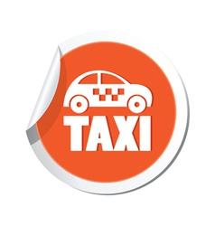 taxi icon orange sticker vector image