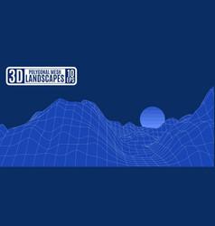 unusual alien computer blue mountains mesh vector image vector image