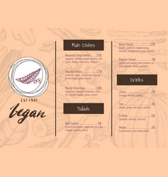 vegan restaurant menu identity hand drawn design vector image