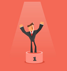 Winner on pedestal flat style businessman vector
