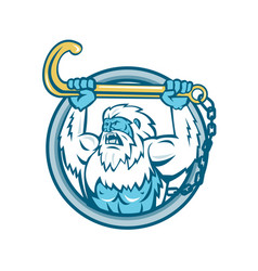 Yeti lifting j hook circle retro vector