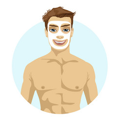 Young handsome man with cream on his face vector
