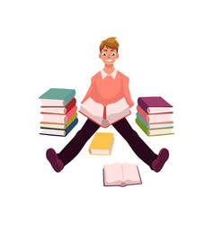 young man reading books sitting on the floor vector image