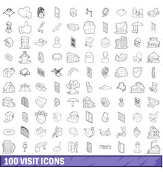 100 visit icons set outline style vector
