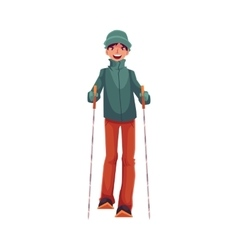 Teen-aged caucasian boy with ski and poles vector