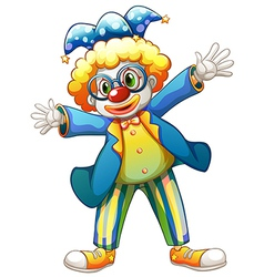 A clown with a colorful costume vector