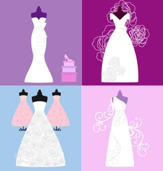 Wedding dresses bridal gowns vector