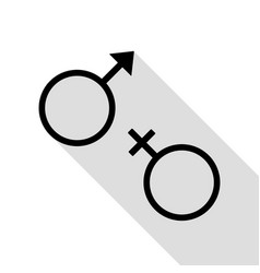 Sex symbol sign black icon with flat style shadow vector