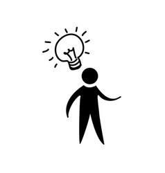 contour man with bulb idea icon vector image