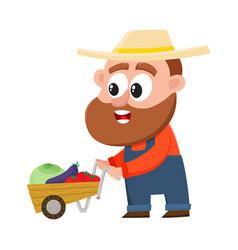 funny farmer gardener character pushing barrow vector image