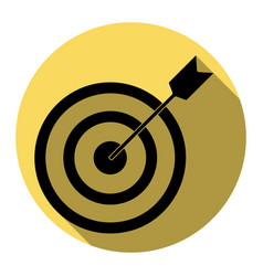 Target with dart  flat black icon with vector