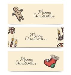 christmas horizontal banners vintage drawings vector image