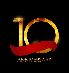 Template 10 years anniversary congratulations vector