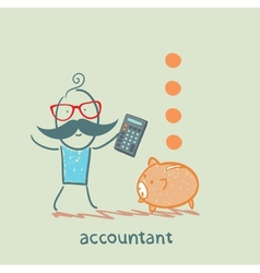 Accountant with a calculator counting money vector