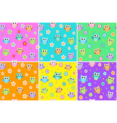 kids seamless pattern with owls owl endless vector image