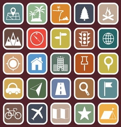 Location flat icons on red background vector