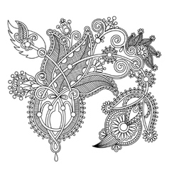Original hand draw line art ornate flower design vector