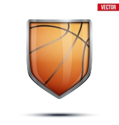 Bright shield in the basketball ball inside vector