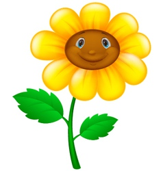 Cartoon flower with face vector image