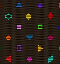 Geometric knitted seamless pattern vector