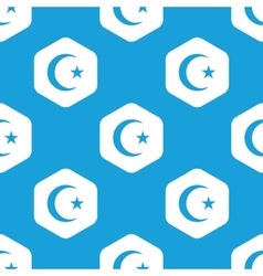Turkish moon hexagon pattern vector