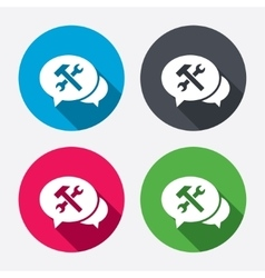 Speech bubble repair tool icon service symbol vector