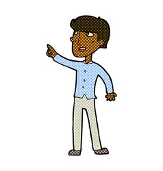 Comic cartoon man pointing vector