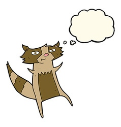 Cartoon raccoon with thought bubble vector