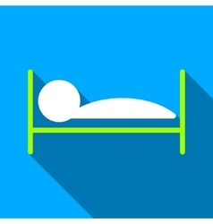Patient bed flat long shadow square icon vector