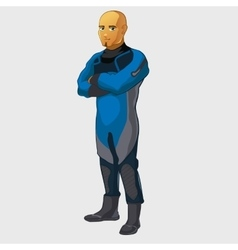 Man divers full length character isolated vector