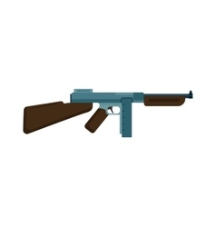 Submachine gun icon color silhouette vector