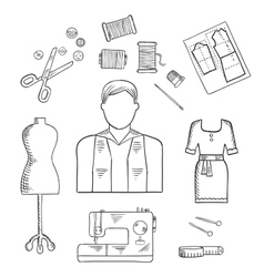 Tailor or fashion designer profession sketch icon vector