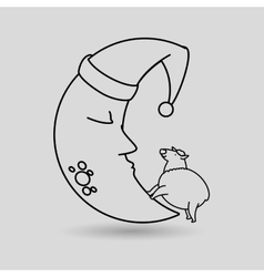 Moon sleeping design vector