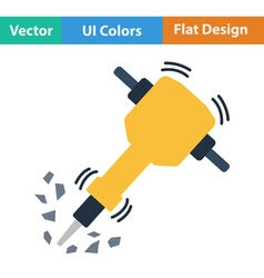 Flat design icon of construction jackhammer vector