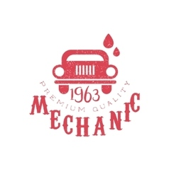 Mechanic red vintage stamp vector