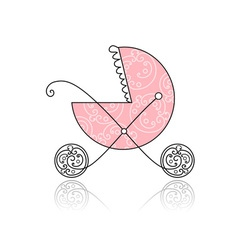 Baby buggy pink for your design vector image vector image