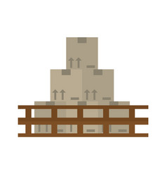 Boxes staked wooden design vector