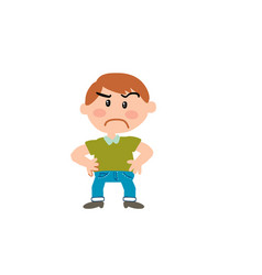 cartoon character boy serious vector image vector image